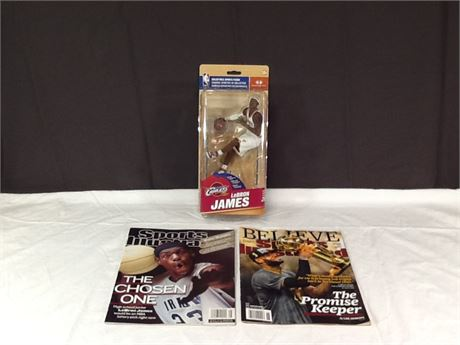 2 Lebron James Sports Illustrated Magazines & Figure
