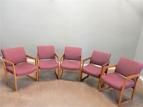 Five Wood Upholstered Office Chairs