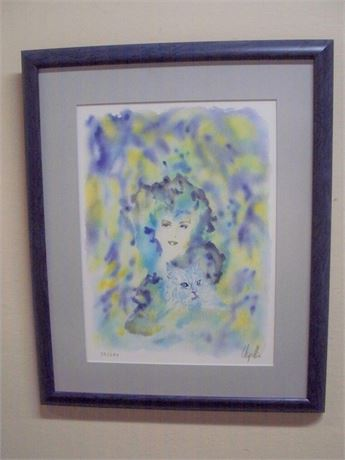 FRAMED MATTED SIGNED NUMBERED (#39/280) LITHOGRAPH  SERENITE - CECILE CHAPELLIER