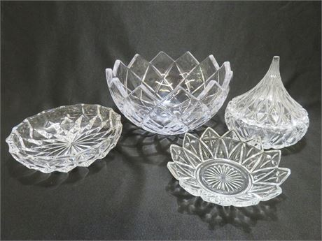 4-Piece Crystal Bowl/Candy Dish Lot