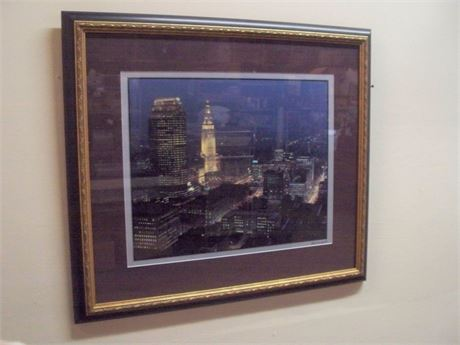 FRAMED AND MATTED CLEVELAND SKYLINE BY CHARLES M. GENTILE