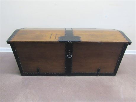 LARGE ANTIQUE TRUNK WITH WROUGHT IRON HANDLES AND HINGES