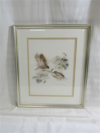 SIGNED MADS STAGE BIRD PRINT - FRAMED AND DOUBLE MATTED