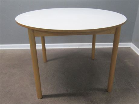 Round Laminate Top Table with Wood Legs
