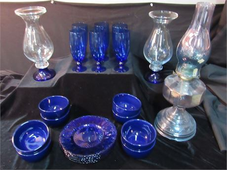 23 Piece Blue Pottery and Glass Lot