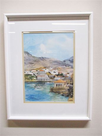 PORT OF HYDRA WATERCOLOR - SIGNED BY THE ARTIST