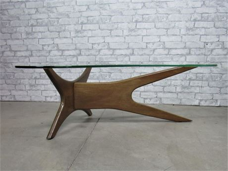 Mid Century Modern Adrian Pearsall Style Glass Top Coffee Table