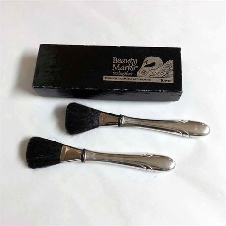 Vintage Sterling Silver Cosmetic Brushes