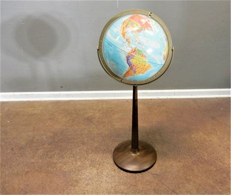 Vintage Mid Century Replogle Globe / Metal Stand
