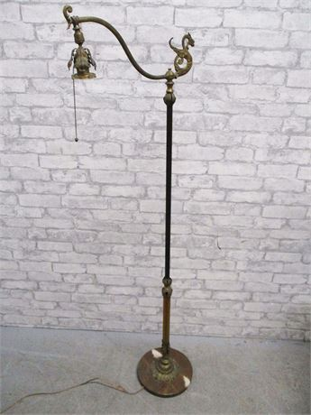 BRASS AND MARBLE VINTAGE FLOOR LAMP