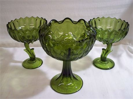 3 VINTAGE MID CENTURY GREEN GLASS COMPOTES