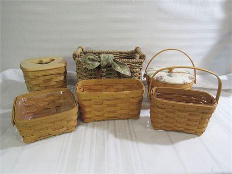 6 Piece Basket Lot - 4 Longaberger