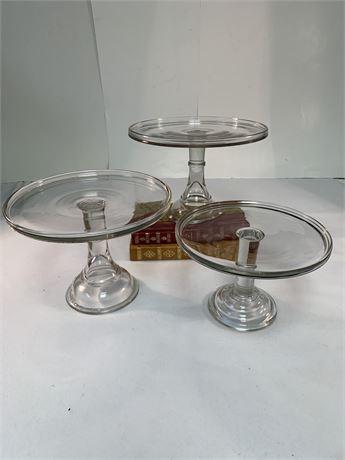 3 Glass Cake Stands