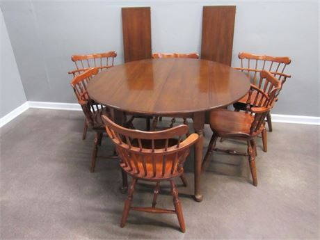 Vintage DropLeaf Table with 6 Windsor Spindle-back Swivel Chairs 2 Leaves & Pads