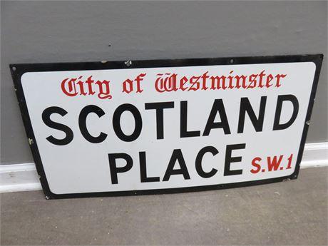Vintage Westminster Scotland Place Porcelain Sign