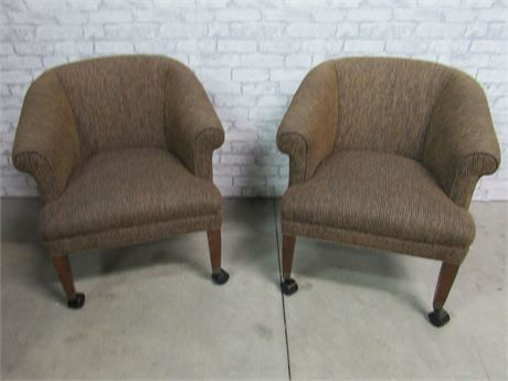 2 Upholstered Office Chairs on Casters.