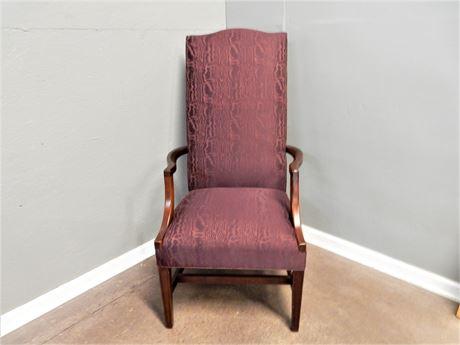 Vintage High Back Eggplant Fabric Wood Chair