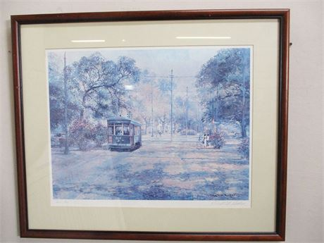 """""""ST. CHARLES STREET CAR NEW ORLEANS"""" BY ROBERT M. RUCKER #447/900 SIGNED"""