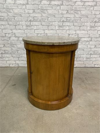 Baker Drum Table/ Marble Top