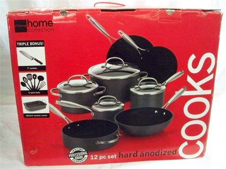 COOKS JC PENNEY HOME COLLECTION PROFESSIONAL GRADE 12PC. HARD ANODIZED COOKWARE