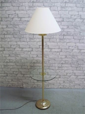 BRASS PLATE AND GLASS TABLE TOP FLOOR LAMP