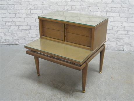 VINTAGE MID CENTURY KENT-COFFEY - THE SEQUENCE - 2-TIER NIGHTSTAND