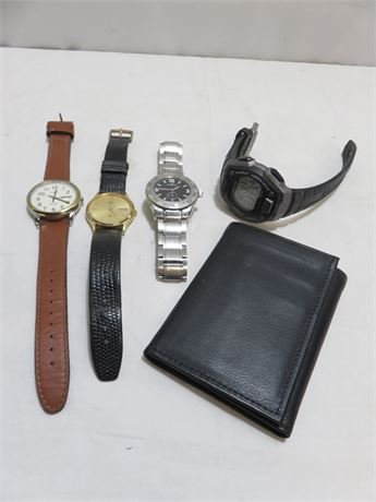 Men's Watches & Leather Wallet