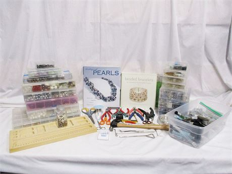 LOT OF BEADS AND BEADING TOOLS