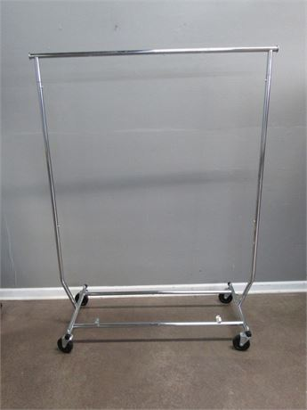 Adjustable Width Chrome Clothes Rack on Casters