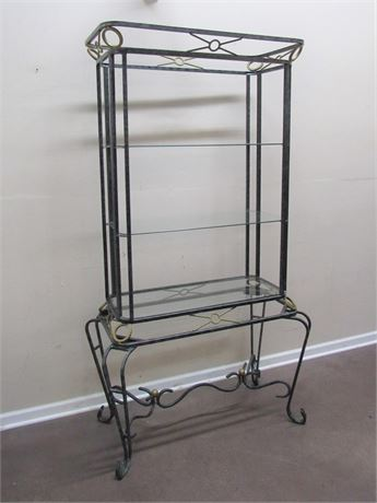 GLASS AND METAL - WROUGHT IRON LOOK 3-TIER ETAGERE/DISPLAY