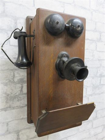 Antique Hand Crank Wall Telephone