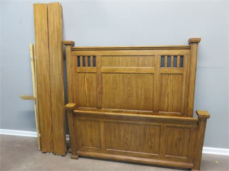 Queen Oak Panel Bed