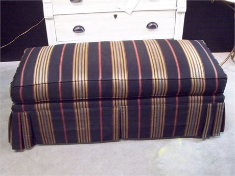 LARGE BLACK AND MULTI-COLOR STRIPED OTTOMAN