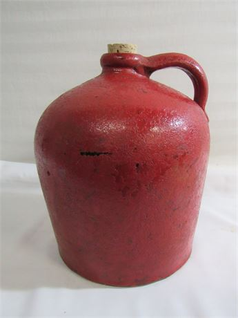 Antique Red Painted Stoneware Jug