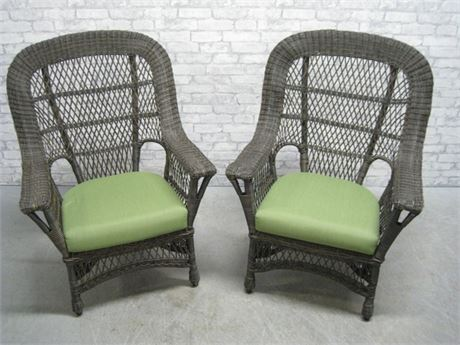 NICE PAIR OF MATCHING SYNTHETIC WICKER CHAIRS