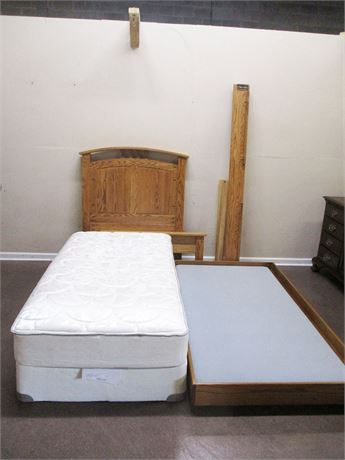 OAK TWIN BED WITH TRUNDLE
