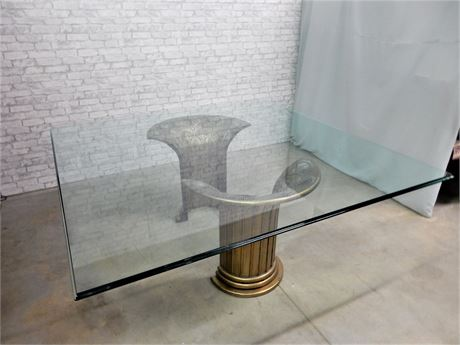Magnificent Contemporary Beveled Glass Square Shape Pedestal Table.