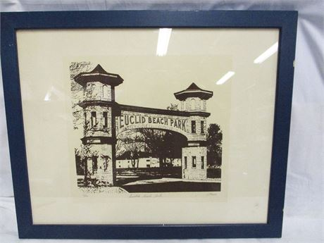 """EUCLID BEACH PARK"" PRINT NUMBERED 16/100 AND SIGNED BY LOCAL ARTIST JIM PTACEK"