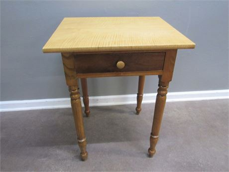 Antique Tiger Maple Side Table with 1 Hand Dove-tailed Drawer