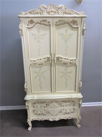 P. Pikkel Interiors Inc French Provincial Armoire Hand-Painted by W Baeckelandt