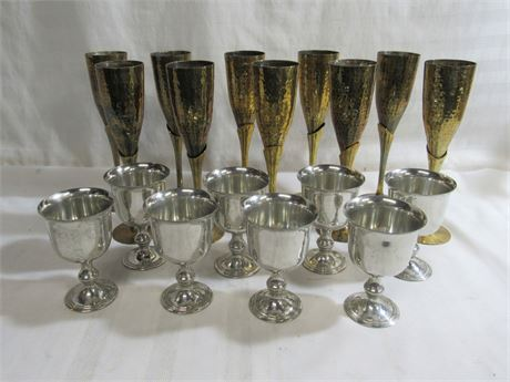 18 PIECE PEWTER AND BRASS DRINKWARE LOT