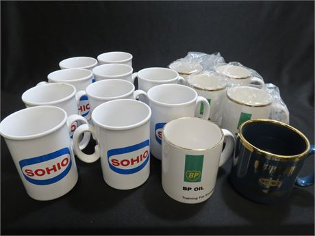 Vintage SOHIO / STANDARD OIL / BP Ceramic Coffee Mugs
