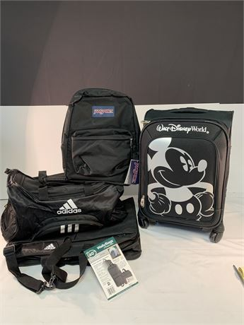 4 Travel Pieces, Adidas, Wall Bag, Mickey Mouse, Jansport  Back Pack