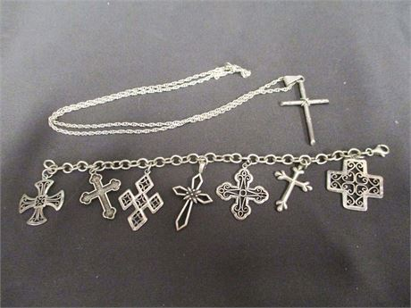 LOT OF STERLING SILVER CROSS JEWELRY