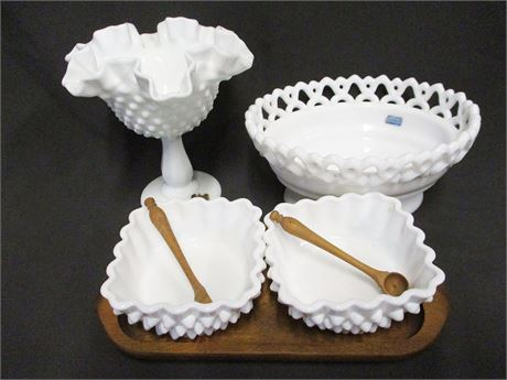 LOT OF VINTAGE MILK GLASS FEATURING IMPERIAL GLASS AND FENTON
