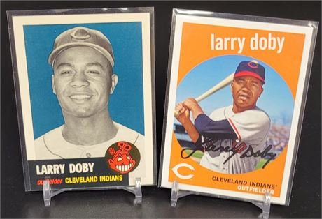 LARRY DOBY TOPPS CERITIFED REPRINT THROWBACK LOT OF 2 CARDS