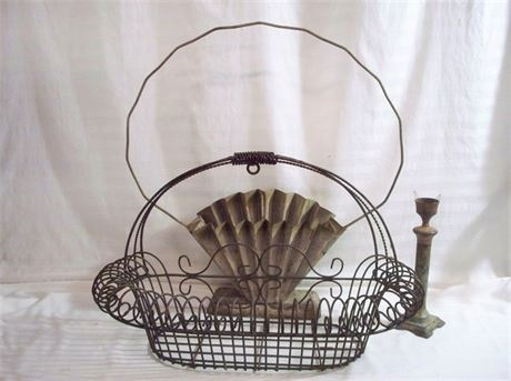 3 PIECE VINTAGE METAL LOT - INCLUDING TIN AND WROUGHT IRON FLOWER BASKETS