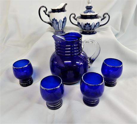 Bombay Colbalt Pitcher Creamer Sugar Bowl and Glasses