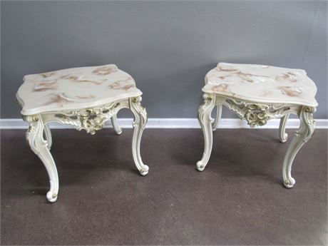 2 French Provincial End Tables with Heavily Carved Details