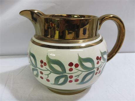 Vintage WADE Holly Berry Copper Luster Pitcher - ENGLAND